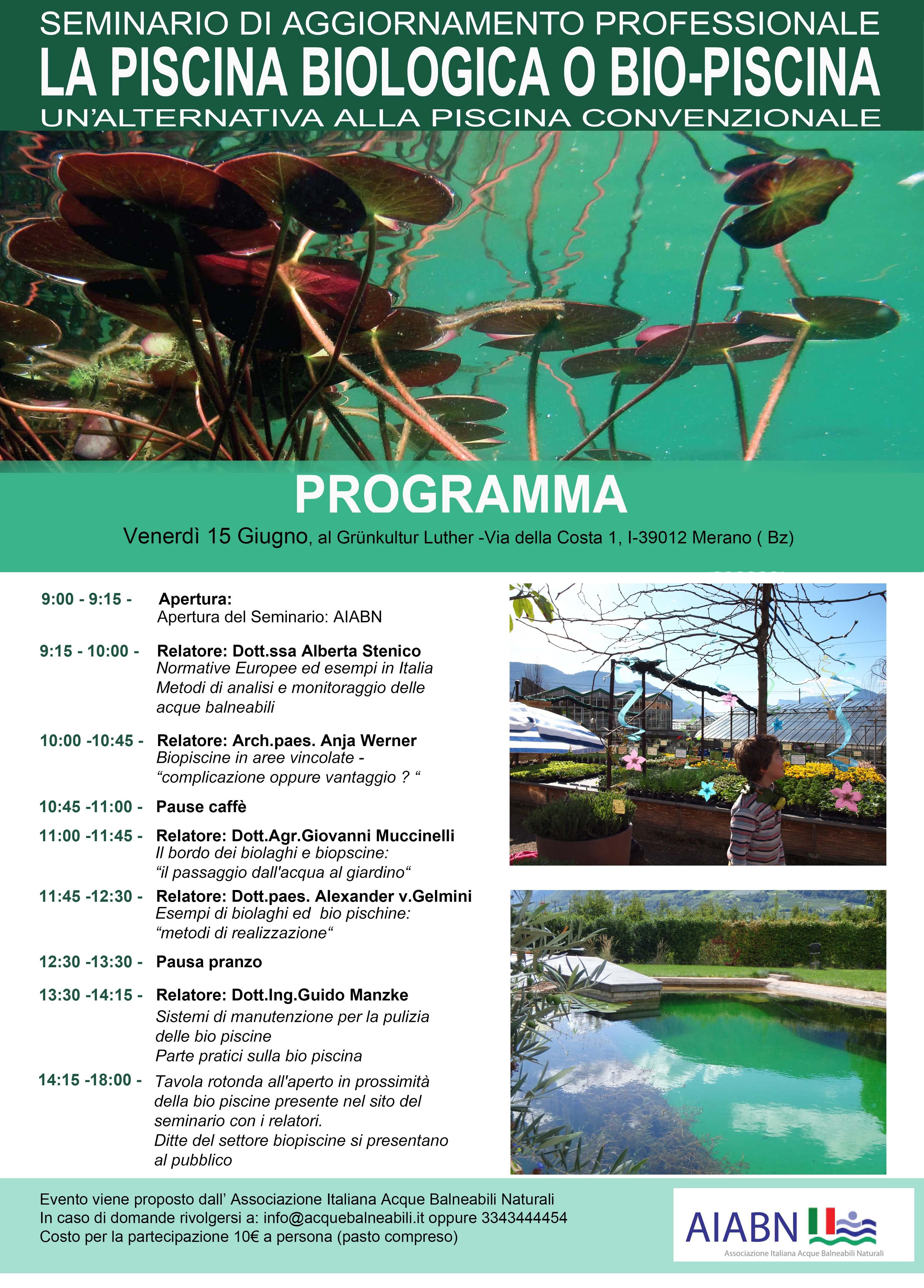 Seminario di aggiornamento professionale la piscina for Bio piscina